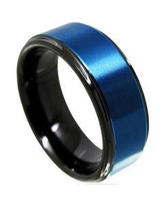 COI Titanium Black Blue Step Edges Ring - JT4113
