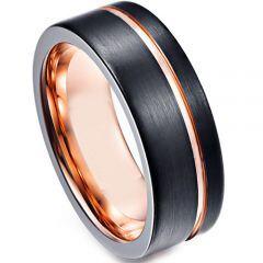 COI Titanium Black Rose Offset Groove Ring - JT3960