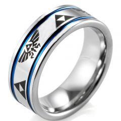 *COI Titanium Blue Silver Legend of Zelda Double Grooves Ring-JT5072