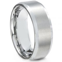 COI Platinum White Titanium Beveled Edges Ring-JT5084