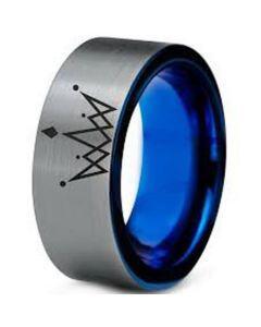 COI Titanium King Crown Pipe Cut Flat Ring-JT5085