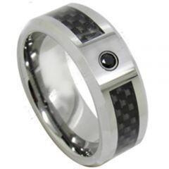COI Titanium Ring With Carbon Fiber & Cubic Zirconia-JT5087