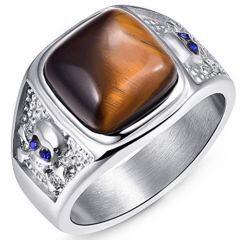 COI Titanium Tiger Eye Cubic Zirconia Ring-JT5091