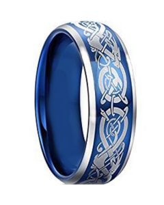 *COI Titanium Blue Silver Dragon Beveled Edges Ring - JT5093