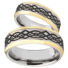 COI Titanium Gold Tone Silver Celtic Step Edges Ring-JT5098