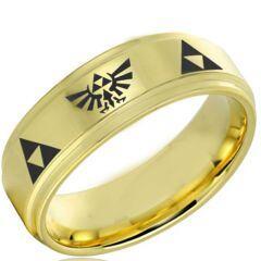 COI Gold Tone Titanium Legend of Zelda Step Edges Ring-JT5102