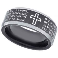 *COI Titanium Cross Prayer Beveled Edges Ring-JT5105