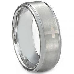 *COI Titanium Cross Step Edges Ring-JT5108