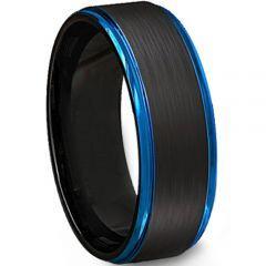 **COI Titanium Black Blue Step Edges Ring-JT5110