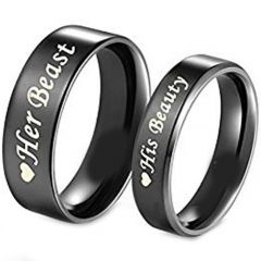 COI Black Titanium Beauty Beast Pipe Cut Flat Ring-JT5117