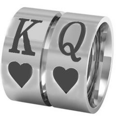 COI Titanium King Queen Heart Pipe Cut Flat Ring-JT5123