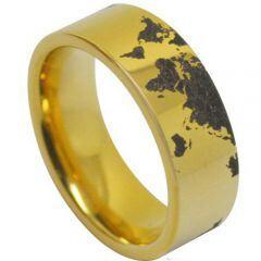 COI Gold Tone Titanium Map Pipe Cut Flat Ring-JT5126