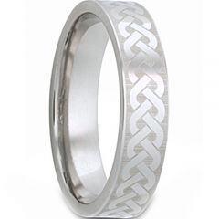 COI Titanium Black Silver Celtic Pipe Cut Flat Ring-JT5129
