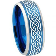 COI Titanium Blue Silver Celtic Beveled Edges Ring-JT5130