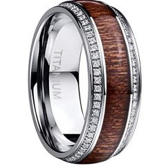 COI Titanium Wood Dome Court Ring With Cubic Zirconia-JT5133