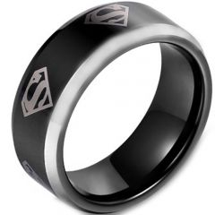 COI Titanium Black Silver SuperMan Beveled Edges Ring-JT5138