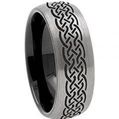 COI Titanium Black Silver Celtic Dome Court Ring-JT5145