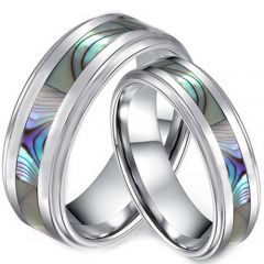 COI Titanium Step Edges Ring With Abalone Shell-JT5146