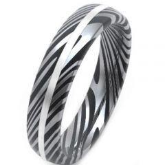 COI Titanium Black Silver Damascus Dome Court Ring-JT5150