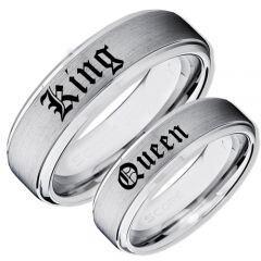 COI Titanium King Queen Step Edges Ring-JT5155