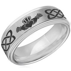 COI Titanium Mo Anam Cara Celtic Step Edges Ring-JT5156