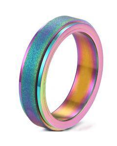 COI Titanium Rainbow Pride Sandblasted Ring-5281