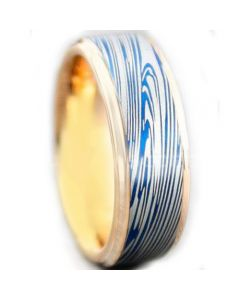 *COI Titanium Blue Rose Damascus Ring-5449
