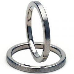 COI Titanium Pipe Cut Flat Wedding Band Ring - JT964
