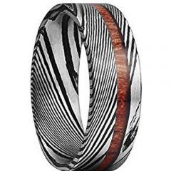 COI Titanium Black Silver Damascus Ring With Wood- 1087
