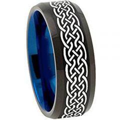 COI Titanium Black Blue Celtic Beveled Edges Ring - 1135