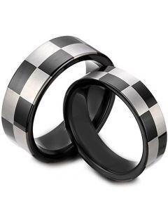 COI Black Titanium Checkered Flag Pipe Cut Flat Ring - JT4039