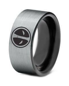 COI Titanium Black Silver DeadPool Pipe Cut Flat Ring - 1437