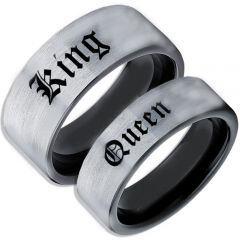 COI Titanium Black Silver King Queen Pipe Cut Flat Ring-1567