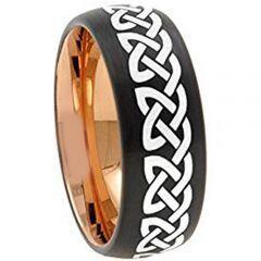 COI Titanium Black Rose Celtic Dome Court Ring - 157