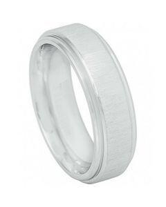 COI Titanium Polished Shiny Step Edges Wedding Band Ring - JT3883