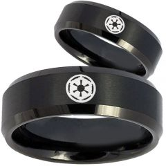 COI Black Titanium Star Wars Empire Beveled Edges Ring - 1740