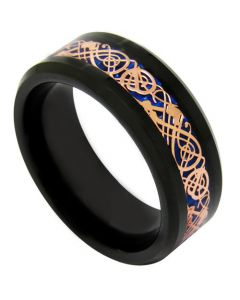 COI Titanium Black Rose Dragon Beveled Edges Ring - JT2891A