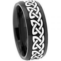 *COI Black Titanium Celtic Beveled Edges Ring - 1959