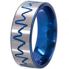 COI Titanium Blue Silver Heartbeat Pipe Cut Flat Ring-195