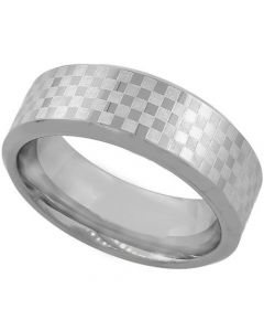COI Titanium Checkered Flag Pipe Cut Flat Ring-1985
