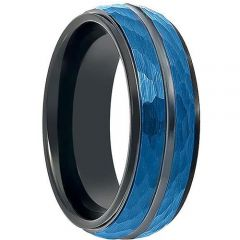 COI Titanium Black Blue Faceted Ring-199
