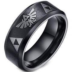 COI Black Titanium Legend of Zelda Beveled Edges Ring-2061