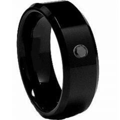 COI Black Titanium Ring With Genuine Black Diamond-2062