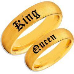 COI Gold Tone Titanium King Queen Dome Court Ring-2283