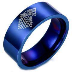 COI Titanium Game of Thrones Ice Wolf Pipe Cut Flat Ring-2424