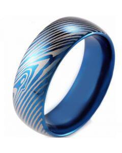 *COI Blue Titanium Damascus Dome Court Ring-2612