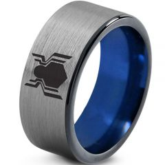 COI Titanium Blue Silver Spiderman Pipe Cut Flat Ring-2759