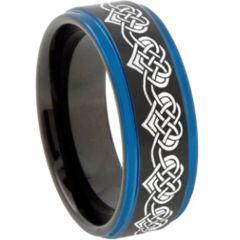 COI Titanium Black Blue Hearts Step Edges Ring-2769