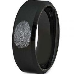 COI Black Titanium Custom FingerPrint Beveled Edges Ring-2775