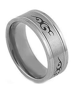 COI Titanium Celtic Double Grooves Ring - 2873